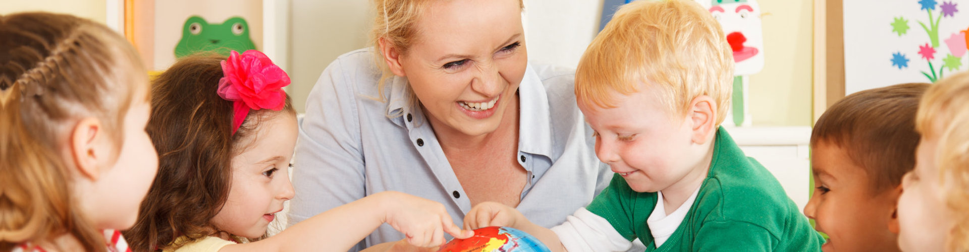 adult woman playing with the kids